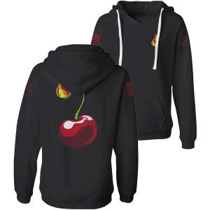 Grunt Style Women's Cherry Bomb V-Neck Pullover Hoodie - Black