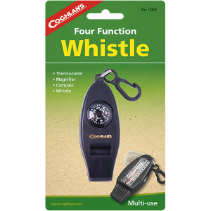 Coghlan's Four Function Camping Emergency Whistle Compass Thermometer Magnifier