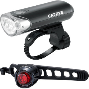 CatEye HL-EL135N Headlight and Black Orb Rear Bicycle Light Combo Kit