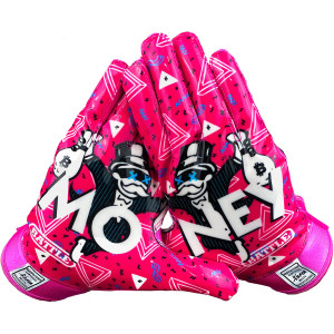Battle Sports Science Money Man Adult Football Receiver Gloves - Pink