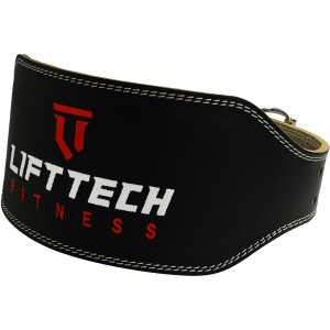 """Lift Tech Fitness 6"""" Padded Leather Weight Lifting Belt - Gray"""
