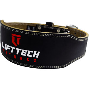 """Lift Tech Fitness 4"""" Padded Leather Weight Lifting Belt - Gray"""