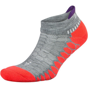 Balega Silver No Show Running Socks - Gray/Neon Coral