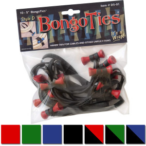 BongoTies All-Natural Reusable Cable Tie Wraps 10-Pack