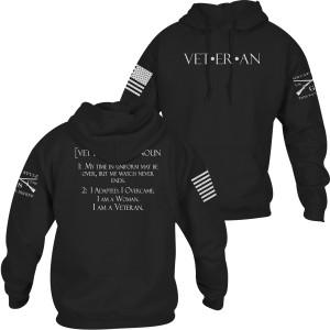 Grunt Style Women's Woman Veteran Pullover Hoodie - Black
