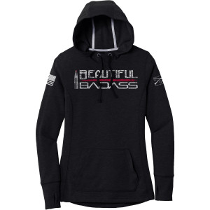 Grunt Style Women's Beautiful Badass Pullover Hoodie - Black Triad Solid