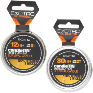 Exotac CandleTIN Slow Burn 3-Wick Emergency Survival Candle - Silver