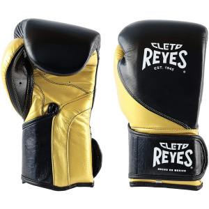 Precision Hook and Loop Boxing Gloves - Black/Solid Gold