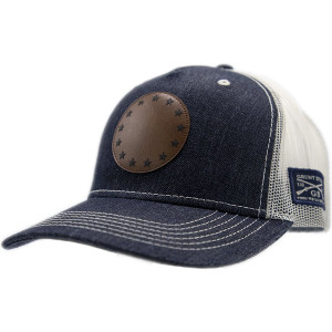 Grunt Style Betsy Ross Faux Leather Patch Denim Hat - Blue