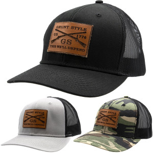 Grunt Style Faux Leather Logo Hat