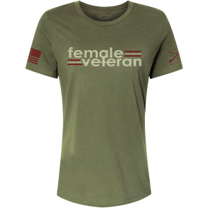 Grunt Style Women's Relaxed Fit Female Veteran T-Shirt - Military Green