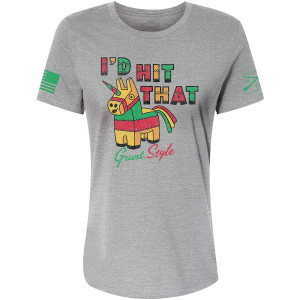 Grunt Style Women's Relaxed Fit I'd Hit That T-Shirt - Gray