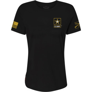 Grunt Style Women's Relaxed Fit Army - Basic Full Logo T-Shirt - Black