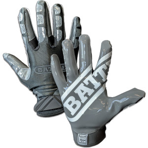 Battle Sports Science Adult DoubleThreat Football Gloves - Charcoal/Charcoal