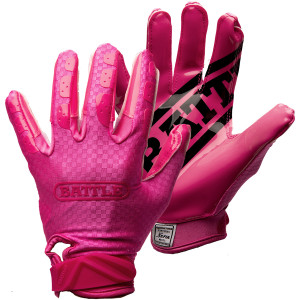 Battle Sports Science Youth TripleThreat UltraTack Football Gloves - Pink