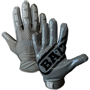 Battle Sports Science Adult TripleThreat UltraTack Football Gloves - Charcoal