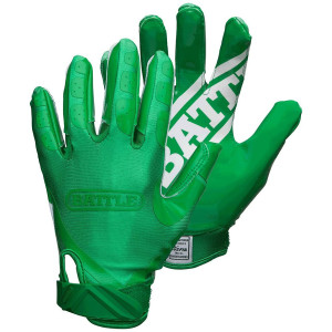 Battle Sports Science Youth DoubleThreat Football Gloves - Green/Green