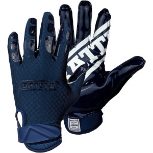 Battle Sports Science Youth DoubleThreat Football Gloves - Navy/Navy