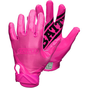 Battle Sports Science Youth DoubleThreat Football Gloves - Pink/Pink