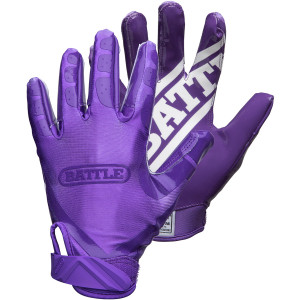 Battle Sports Science Youth DoubleThreat Football Gloves - Purple/Purple