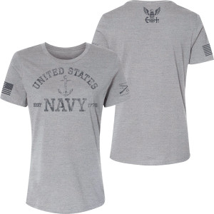 Grunt Style Women's USN - Est. 1775 Relaxed Fit T-Shirt - Athletic Heather
