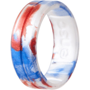 Enso Rings Classic Handcrafted Series Silicone Ring - Red/White/Blue