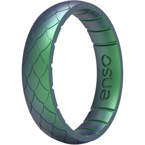 Enso Rings Thin Etched Legends Series Silicone Ring - Dragon Scale