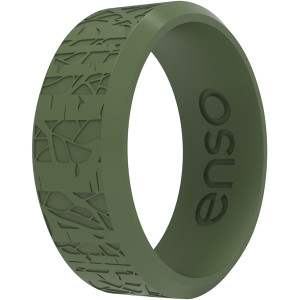 Enso Rings Classic Etched Bevel Series Silicone Ring - Pine Aspen