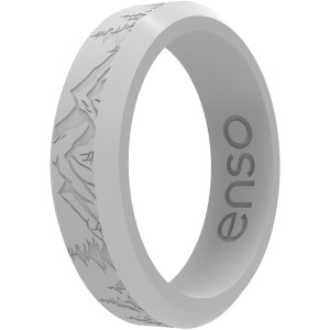 Enso Rings Thin Etched Bevel Series Silicone Ring - Misty Gray Peak