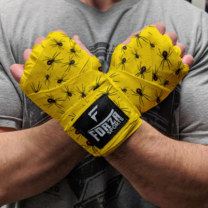 """Forza Sports 180"""" Mexican Style Boxing and MMA Handwraps - Spider Yellow"""