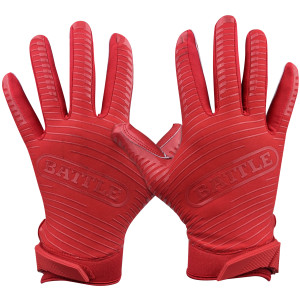 Battle Sports Science Doom 1.0 Adult Football Receiver Gloves - Red