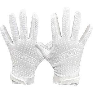 Battle Sports Science Doom 1.0 Youth Football Receiver Gloves - White