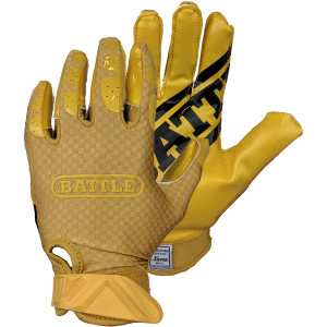 Battle Sports Science Triple Threat Youth Football Receiver Gloves - Gold