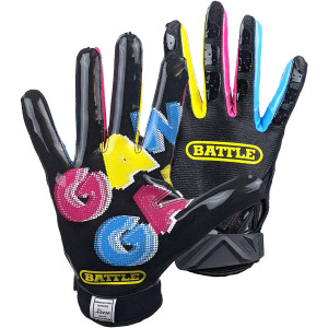 Battle Sports Gang Gang Double Threat Adult Football Receiver Gloves - Black