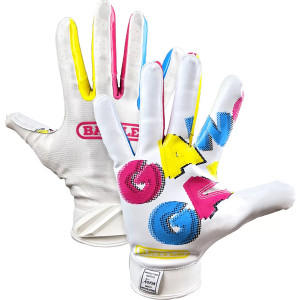 Battle Sports Gang Gang Double Threat Adult Football Receiver Gloves - White