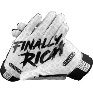Battle Sports Science Finally Rich Youth Football Receiver Gloves - Black/White