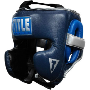 Title Boxing Royalty Leather Training Headgear - Royal/Navy