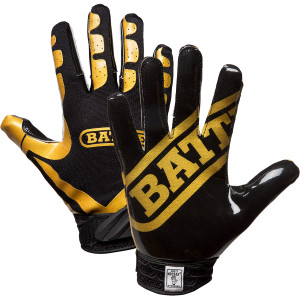 Battle Sports Science Receivers Ultra-Stick Football Gloves - Gold/Black