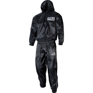Title Boxing Rip-Stop Nylon and PVC Rubber Lined Sauna Suit With Hood - Black