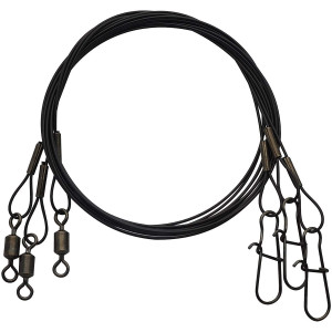 """Eagle Claw Black Heavy Duty 18"""" Wire Leaders 3-Pack"""