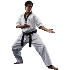 Macho Classic V-Neck Taekwondo Uniform - White/Black