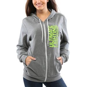 UFC TUF Women's Team Melendez Full Zip Hoodie - Grey/Neon Green