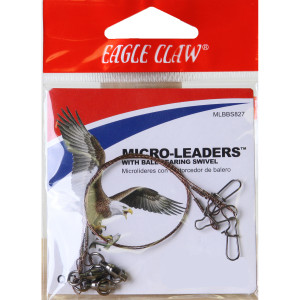 """Eagle Claw 8"""" Wire Micro-Leaders with Ball Bearing Swivel 3-Pack"""