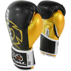 Rival Boxing RB7 Fitness+ Hook and Loop Bag Gloves - Black/Gold