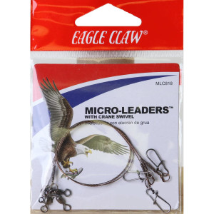 """Eagle Claw 8"""" Wire Micro-Leaders with Crane Swivel 3-Pack"""