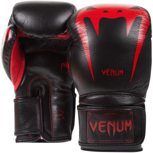 Venum Giant 3.0 Nappa Leather Hook and Loop Boxing Gloves - Black Devil
