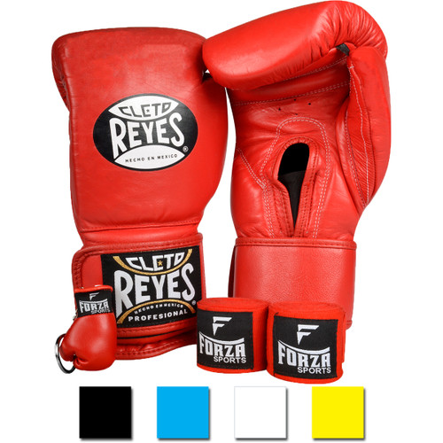 178883e7e Cleto Reyes Hook and Loop Boxing Gloves with Forza Handwraps and Keychain