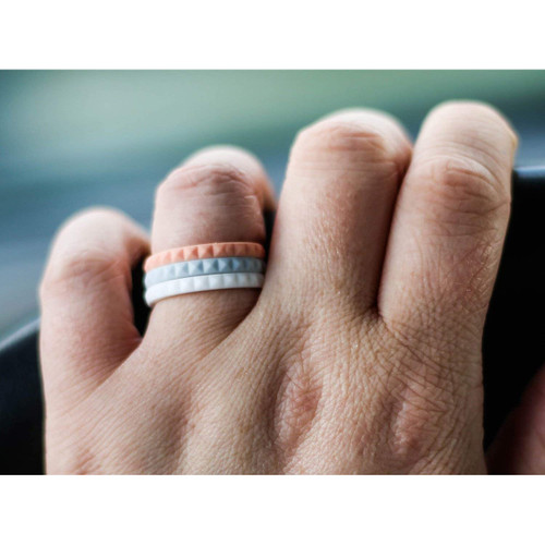 Enso Rings Pyramid Stackables Series Silicone Ring Coral