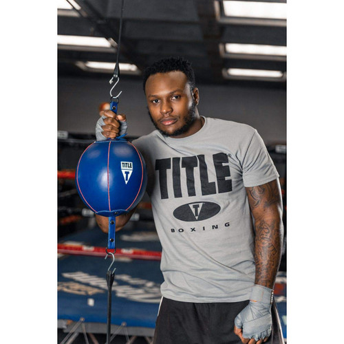 Title Boxing Quick Leather Double End Bag Package - Blue