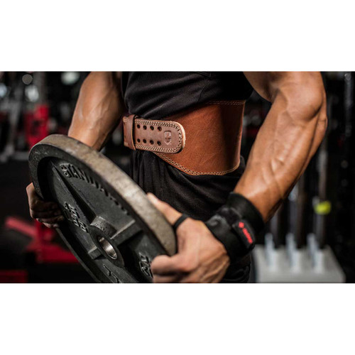 "Harbinger 6"" Oiled Leather Weight Lifting Belt - Brown"
